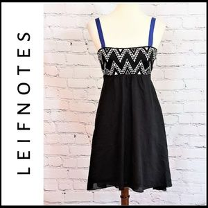 LEIFNOTES Black Tribal Strappy A-Line Mini Dress 2